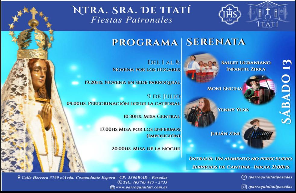 Programa Fiestas Patronales Ntra. Sra. de Itatí 2019